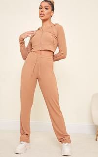 PrettyLittleThing - Camel Rib Straight Leg Trousers, Camel