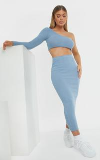 PrettyLittleThing - Steel Blue Brushed Rib Midaxi Skirt, Blue Steel