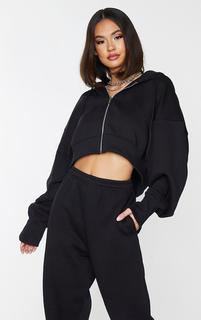 PrettyLittleThing - Black Oversized Zip Through Rib Cuff Cropped Hoodie, Black
