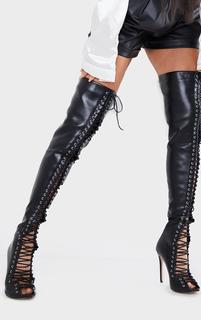 PrettyLittleThing - Black PU Extreme Lace Up Thigh High Heeled Boots, Black