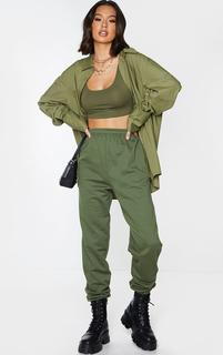 PrettyLittleThing - Olive Khaki Casual Joggers, Green