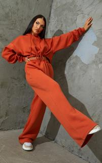 PrettyLittleThing - Burnt Orange Wide Leg Joggers, Orange