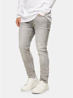 Topman - Mens Grey Stitch Skinny Jeans, Grey