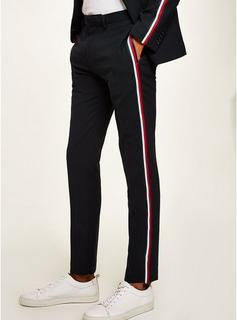 Topman - Mens Navy Textured Skinny Suit Trousers With Side Taping, Navy