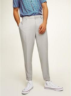 Topman - Mens Mid Grey Grey Pinstripe Tapered Smart Trousers, Mid Grey