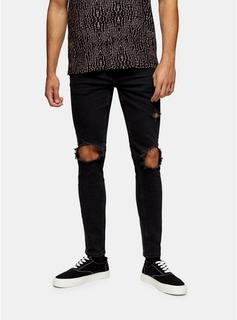 Topman - Mens Washed Black Extreme Blowout Skinny Jeans, BLACK