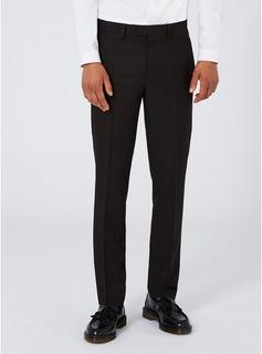 Topman - Mens Black Skinny Fit Tuxedo Suit Trousers, Black