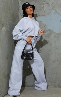 PrettyLittleThing - Grey Marl Wide Leg Joggers, Grey Marl