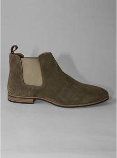Topman - Mens Khaki Suede Caden Chelsea Boots, Khaki