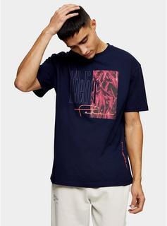 Topman - Mens Navy Atelier Print T-Shirt, Navy