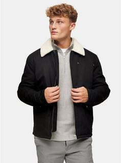 Topman - Mens Black Harrington Borg Jacket, Black