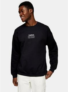 Topman - Mens Christmas Lapland Sweatshirt In Black, Black