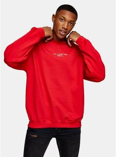 Topman - Mens Christmas Red All I Want Sweatshirt, Red