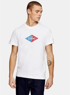 Tommy Jeans - Mens Tommy Jeans Retro Logo T-Shirt In White, White
