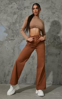 PrettyLittleThing - Brown Peach Skin Straight Leg Trousers, Brown