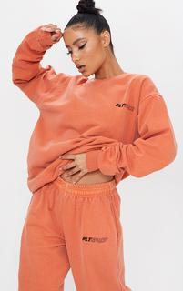 PrettyLittleThing - Rust Oversized Sport Sweater, Orange