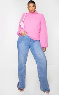 PrettyLittleThing - Plus Pink Roll Neck Balloon Sleeve Eyelash Knit Jumper, Pink