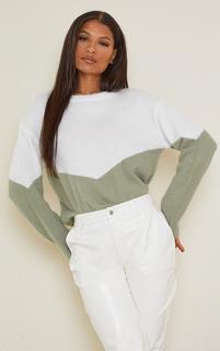 PrettyLittleThing - Sage Green Colourblock Eyelash Knit Jumper, Sage Green