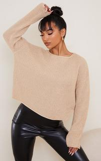 PrettyLittleThing - Gold Glitter Twisted Knitted Jumper, Yellow