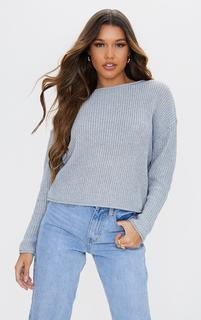 PrettyLittleThing - Silver Glitter Twisted Knitted Jumper, Grey