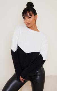PrettyLittleThing - White Colourblock Eyelash Knit Jumper, White