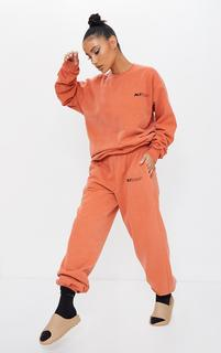 PrettyLittleThing - Rust Sport Joggers, Orange
