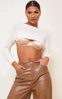 PrettyLittleThing - Cream Super Crop Cable Sleeve Batwing Jumper, White