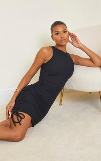 PrettyLittleThing - Black Crinkle Rib Sleeveless Ruched Racer Neck Bodycon Dress, Black