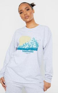 PrettyLittleThing - Sand Yosemite Printed Oversized Long Sleeve T Shirt, Sand