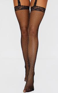 PrettyLittleThing - Black Diamante Lace Suspender Tights, Black