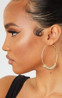 PrettyLittleThing - Gold Oversized Diamante Charm Hoop Earrings, Yellow