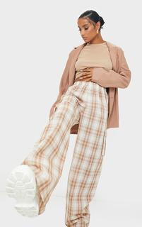PrettyLittleThing - Stone Check Wide Leg Cargo Trousers, Pink