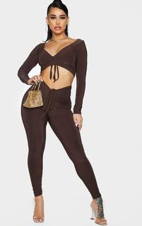 PrettyLittleThing - Shape Chocolate Brown Slinky Ruched Front Leggings, Chocolate Brown