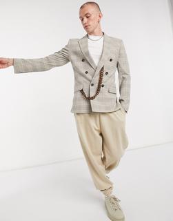 ASOS DESIGN - Zweireihige Anzugjacke mit Zierkette und Prince-of-Wales-Karomuster in Beige