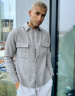 ASOS DESIGN - Hemdjacke aus Wollgemisch mit Fischgrätmuster in Grau