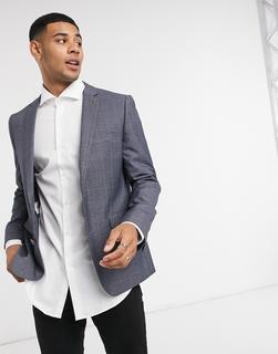 Farah - Schmal geschnittene, karierte Anzugjacke in Grau