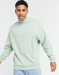 ASOS DESIGN - Grünes Oversize-Sweatshirt mit Rollkragen