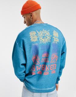 ASOS DESIGN - Blaues Oversize-Sweatshirt mit Ölwaschung und Awaken-Print auf der Rückseite
