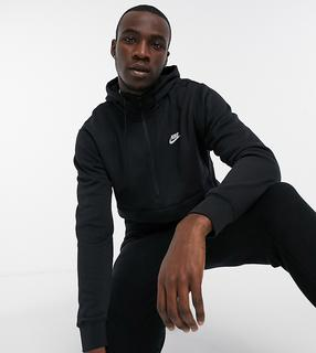 Nike - Tall – Club – Kapuzenpullover mit halblangem Reißverschluss in Schwarz