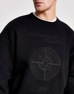 River Island - Sweatshirt mit farblich passendem Print in Schwarz