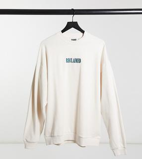 Reclaimed Vintage - Inspired – Sweatshirt in Ecru mit blauer Logostickerei-Weiß