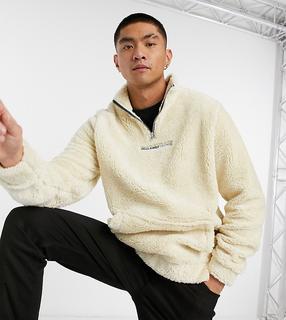 Reclaimed Vintage - Inspired – Trainingsjacke aus Teddyfell in Cremeweiß