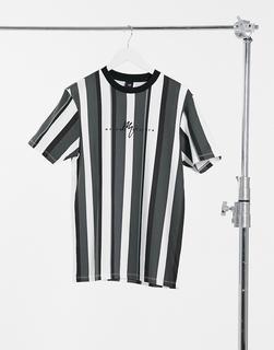 River Island - Maison – Schmales, gestreiftes T-Shirt-Grün