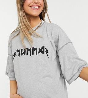 "Missguided Maternity - T-Shirt mit ""Mumma""-Schriftzug in Grau"