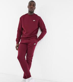 Nike - Tall – Club – Sweatshirt in Burgunderrot mit Rundhalsausschnitt