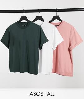 ASOS DESIGN - Tall –T-Shirts mit Rollärmeln im 3er-Pack-Mehrfarbig