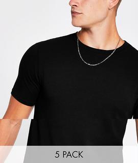 River Island - Muskel-T-Shirts im 5er-Pack in Schwarz