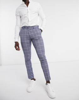 New Look - Eng geschnittene Anzughose mit blauem Karomuster