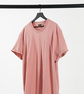 ASOS DESIGN - Plus – T-Shirt mit Rollärmeln in Staubrosa