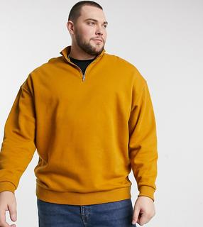 ASOS DESIGN - Plus – Oversize-Sweatshirt in Senfgelb mit halblangem Reißverschluss-Braun